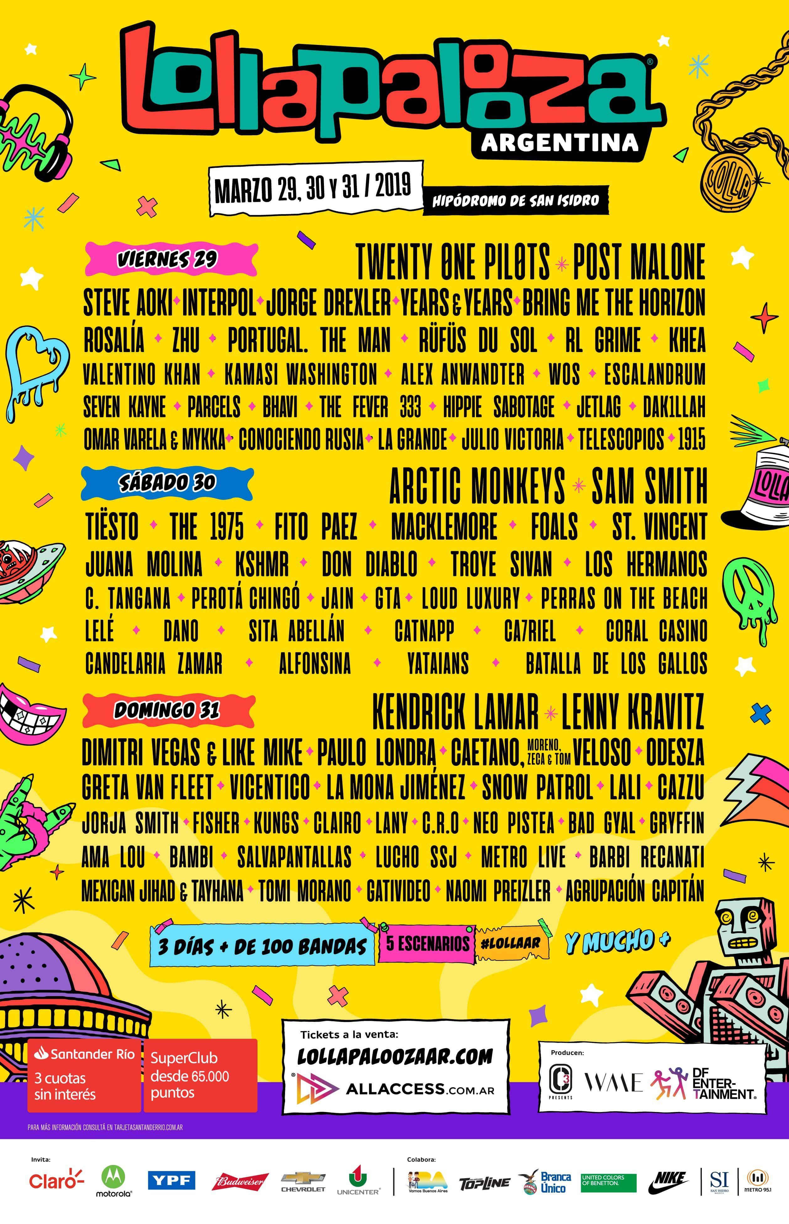 36e7d9836677 Lollapalooza Argentina confirma la grilla por día de la sexta edición del  festival que se realizará el 29