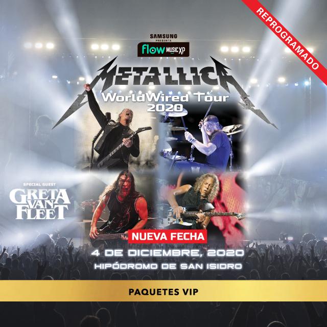 Metallica VIP PACKAGES en Hipodromo de San Isidro
